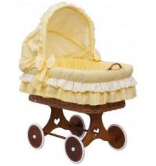 Proutěný koš na miminko s boudičkou Dráček - žlutá