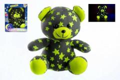 Medvídek svítící ve tmě 21 cm šedý žlutý plyš