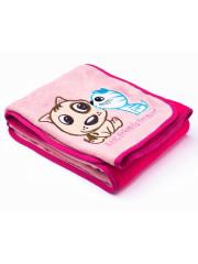 Dětská deka Sensillo Pejsek a Kočička 75x100 cm pink