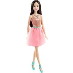 Barbie v třpytivých šatech BROSKVOVÝCH ČERNOVLÁSKA