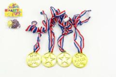 Zlaté medaile průměr 4ks plast