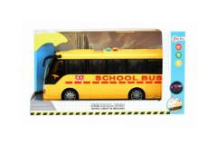 Autobus školní plast 29cm na baterie se světlem se zvukem na setrvačník