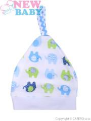 Kojenecká čepička New Baby Sloník bílo-modrá vel. 56