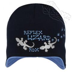8e670341523 Bavlněná čepička na uši s ještěrkou a reflexními prvky tm. modrá RDX