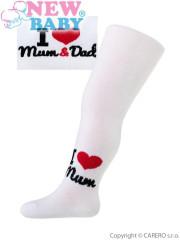 Bavlněné punčocháčky New Baby Bílé I love mum and dad