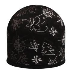 Zimní čepice fleece zimní vzory černo-bílá RDX