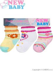 Kojenecké bavlněné ponožky New Baby barevné - 3ks vel. 74 (9 - 10 cm)