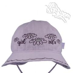 Dívčí letní vázací klobouk Kytičky Fialový RDX