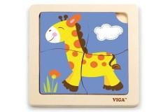Dřevěné puzzle - žirafa 4 dílky Viga