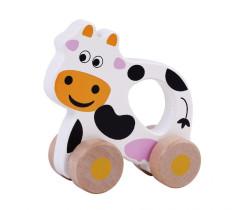 Dřevěná jezdící hračka kravička Sunbaby