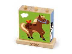 Dřevěné nasouvací kostky 9 ks farma Viga