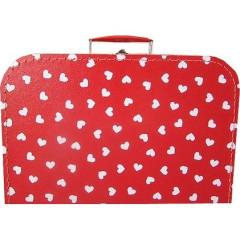 Kufřík červený s bílými srdíčky