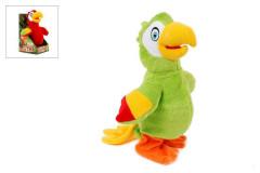 Papoušek plyšový chodící a opakukující slova 20 cm