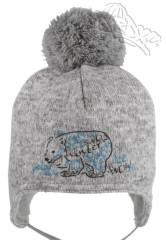 Zimní zavazovací čepice s bambulkou a medvědem šedá RDX