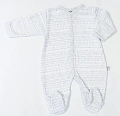 Overálek celorozepínací LLLL šedo-modrý s rukavičkami Baby Service