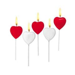 Dekorační svíčky srdíčka 5 ks