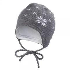 Čepice PLETENÁ zavazovací NORSKÁ HVĚZDA  Outlast® šedá