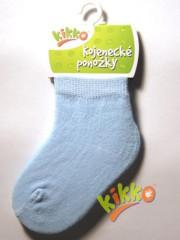 Kojenecké ponožky bavlna KIKKO 6-12 m jednobarevné modré - typ 32