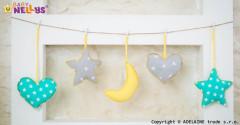 Sada dekorací Stars be Love Mint + žlutá