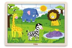 Dřevěné puzzle 16 dílků - divočina Viga