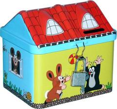 Pokladnička plechová domeček - krtek