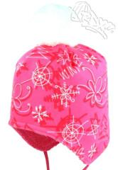 Zimní čepice na uši s bambulí na zavazování zimní vzory neon. růžová RDX