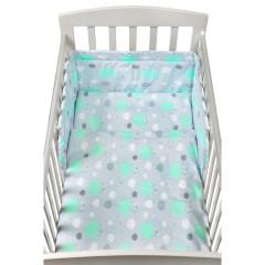 3-dílné ložní povlečení New Baby 90 x 120 cm obláčky mátové