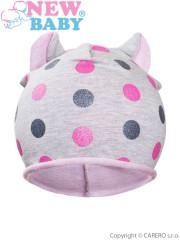 Podzimní dětská čepička New Baby puntíky šedo-světle růžová vel. 110