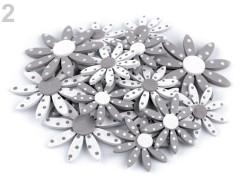 Samolepicí dřevěné květy - sada šedá