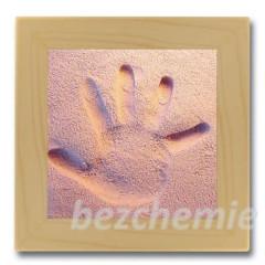 Otisk ručičky nebo nožičky v písku -růžový s rámečkem
