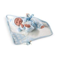 Panenka - New Born chlapeček v modro-bílém oblečku 26 cm