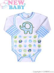 Kojenecké body s dlouhým rukávem New Baby Sloník bílo-modré s bočním zapínáním vel. 56