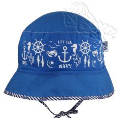 Letní klobouček na zavazování marine Modrý RDX