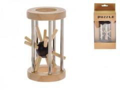 Hlavolam ježek v kleci 8cm dřevo/kov