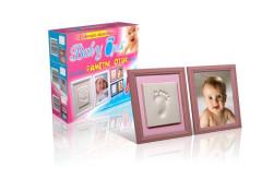 Baby Otisk Dvojrámeček - Pamětní otisk růžový rámeček