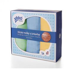 Biobavlněné dětské osušky XKKO Staré časy 90x100 - Pastels - pro kluky - 3ks