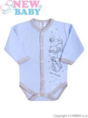 Kojenecké body s dlouhým rukávem celorozepínací New Baby Kamarádi modré