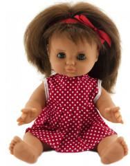 Panenka miminko holčička 30 cm pevné tělíčko červené šatičky s puntíky