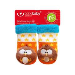 Kojenecké ponožky s chrastítkem 3-6 měsíců oranžovo-modré se sovou