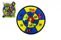 Terč na suchý zip 30cm 4 šipky + míčky 2ks na kartě