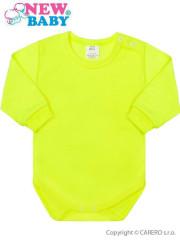 Kojenecké body s dlouhým rukávem New Baby neonové žluté