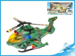 Vrtulník vojenský 26cm narážecí na baterie se světlem a zvukem