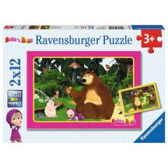 Puzzle Máša a Medvěd 2x12dílků
