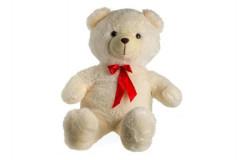 Medvěd plyšový 100cm s mašlí béžový 0+
