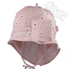 Dívčí letní vázací klobouk s plachetkou Květiny lososový RDX