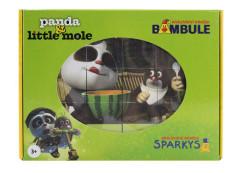 Dřevěné kostky Krtek a Panda 12 ks