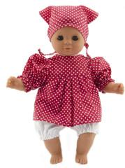 Panenka miminko holčička 30 cm měkké tělíčko červené šatičky s bílým puntíkem + šátek