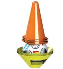 Fotbalové kužely 4ks + mety 4ks s míčem 10m+