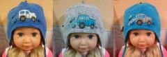 Zimní chlapecká zavazovací čepice s výšivkou auta vel. 0 (38-40cm)