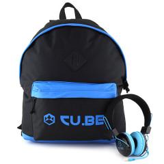 Batoh se sluchátky CU.BE  - černý s modrými doplňky